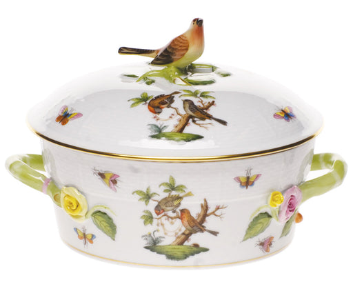 Small Covered Vegetable Dish with Bird