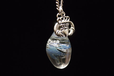 Fused ball glass piece on a Sterling silver chain. Irish and Celtic Cremation Memorial Jewelry