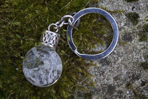Fused keyring on a silver keychain