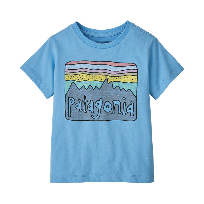 Patagonia Baby Fitz Roy Skies Organic T-Shirt (Lagoon Blue)-Little Adventure Shop