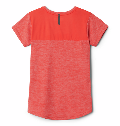 Columbia Girls Tech Trek T-Shirt (Poppy Heather)-Little Adventure Shop