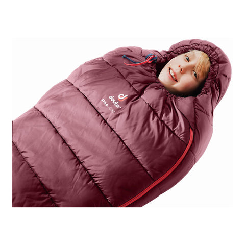 Deuter Starlight Expandable Kids Sleeping Bag (Maron)-Little Adventure Shop