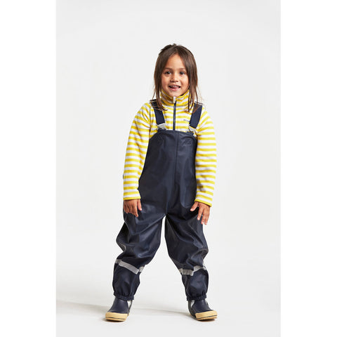 Didriksons Plaskeman Kids Waterproof PU Dungarees (Navy)-Little Adventure Shop