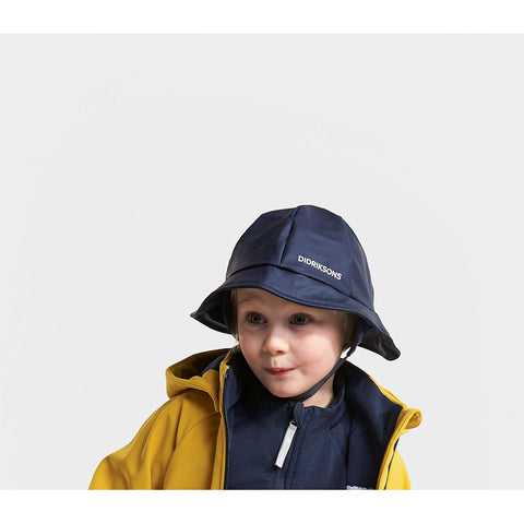 Didriksons Kids Southwest PU Rain Hat (Navy)-Little Adventure Shop