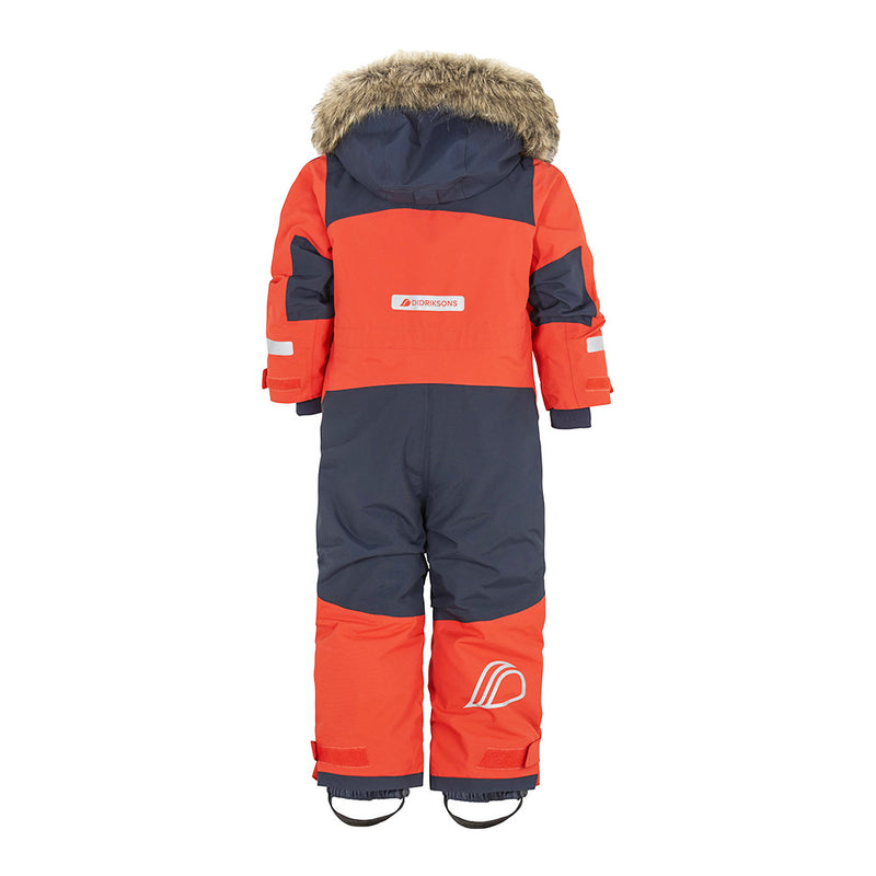 Didriksons Bjornen Kids Ski Coverall (Poppy Red)-Little Adventure Shop