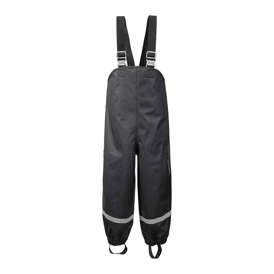Didriksons Plaskeman Kids Waterproof PU Dungarees (Black)-Little Adventure Shop
