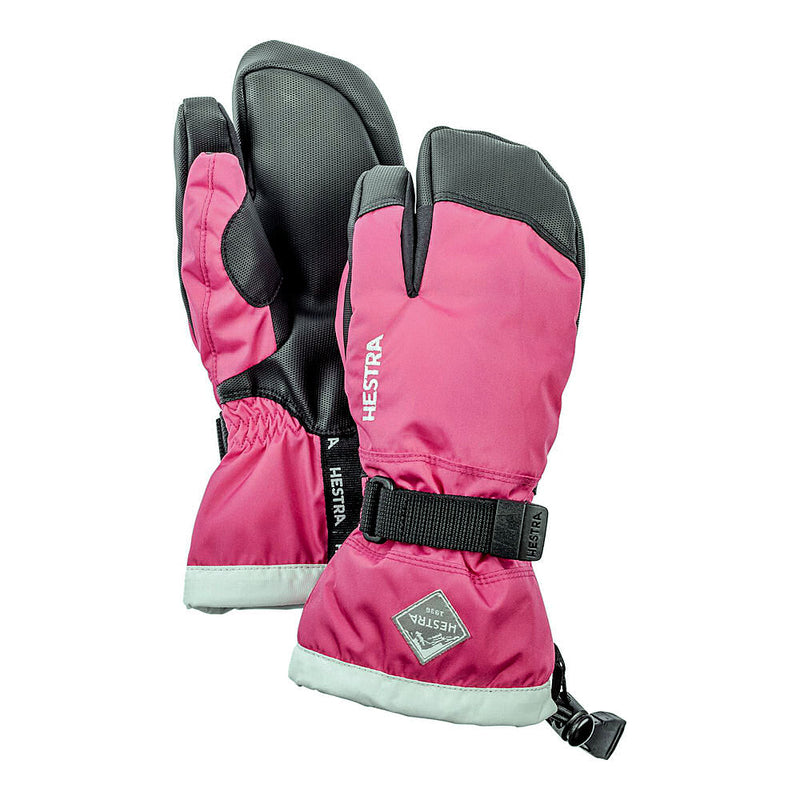 Hestra C-Zone Jr 3-Fingered Kids Ski Gloves (Fushia)-Little Adventure Shop