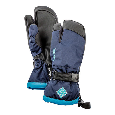 Hestra C-Zone Jr 3-Fingered Kids Ski Gloves (Navy)-Little Adventure Shop