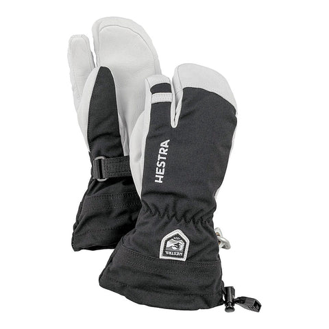 Hestra Kids Army Leather Heli Ski Jr 3-fingered Ski Glove (Black)-Little Adventure Shop