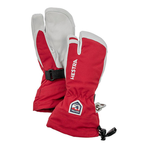 Hestra Kids Army Leather Heli Ski Jr 3-fingered Ski Glove (Red)-Little Adventure Shop