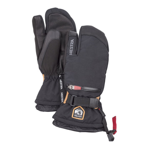 Hestra C-Zone All Mountain Kids 3-fingered Ski Gloves (Black)-Little Adventure Shop