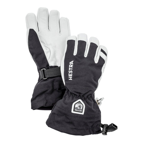 Hestra Kids Army Leather Heli Ski Jr Glove (Black)-Little Adventure Shop