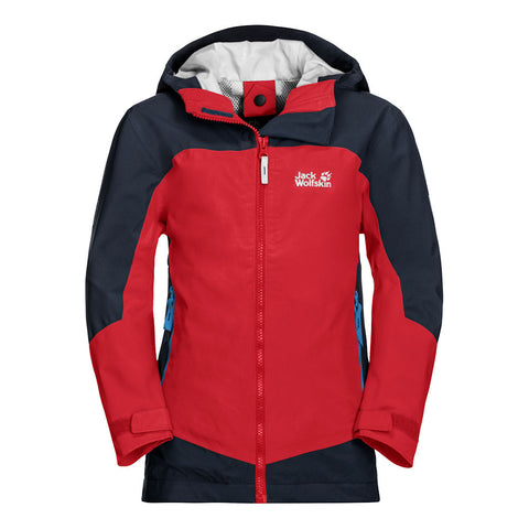 Jack Wolfskin Kids Ropi Waterproof Jacket (Peak Red)-Little Adventure Shop