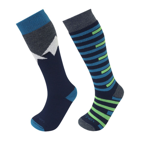 Lorpen Kids Merino Ski Socks - Twin Pack (Blue/Green)-Little Adventure Shop