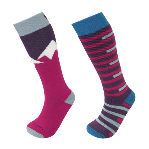 Lorpen Kids Merino Ski Socks - Twin Pack (Pink/Blue)-Little Adventure Shop