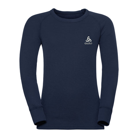 Odlo Kids Warm Crew Thermal Top (Navy)-Little Adventure Shop