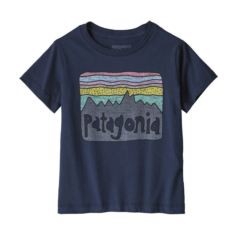 Patagonia Baby Fitz Roy Skies Organic T-Shirt (Navy)-Little Adventure Shop