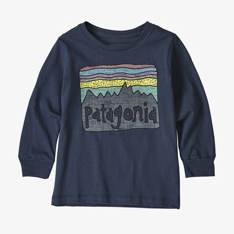 Patagonia Baby Fitz Roy Skies Organic Long Sleeved T-Shirt (Navy)-Little Adventure Shop