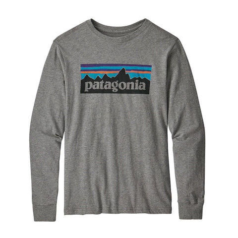 Patagonia Boys P-6 Logo Long Sleeved T-Shirt (Gravel Heather)-Little Adventure Shop