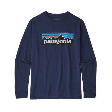Patagonia Boys P-6 Logo Long Sleeved T-Shirt (Navy)-Little Adventure Shop