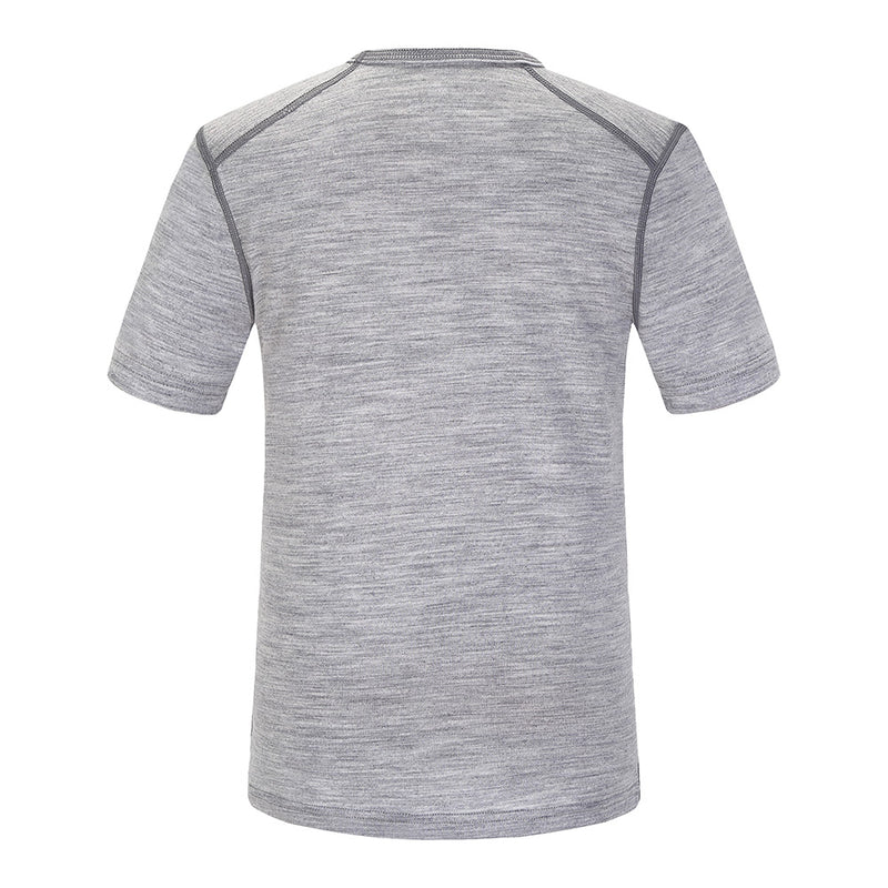 Skogstad Boys Lihesten Merino Wool T-Shirt (Grey Melange)-Little Adventure Shop