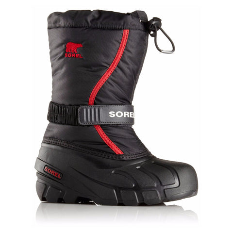 Sorel Flurry Kids Snow Boots (Black Red)