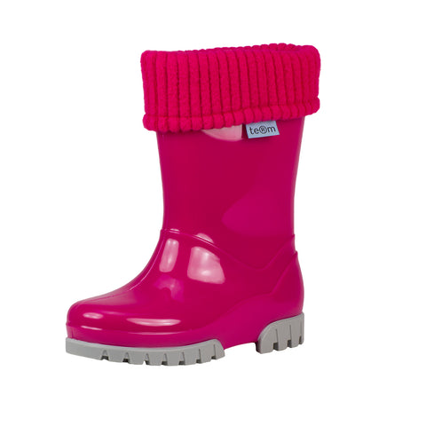 Term Kids Roll Top Welly Boots (Pink)-Little Adventure Shop