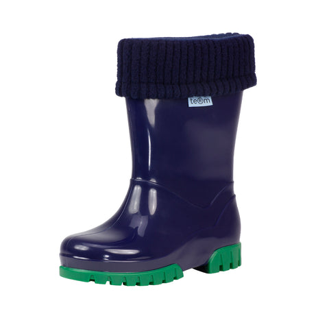 Term Kids Roll Top Welly Boots (Navy)-Little Adventure Shop