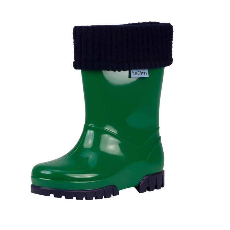 Term Kids Roll Top Welly Boots (Green)-Little Adventure Shop