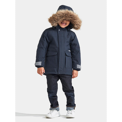 Didriksons Kure Kids Parka (Navy)-Little Adventure Shop