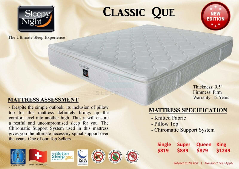 Classic Que Mattress with Pillow Top-Sleepy Night-Sleep Space