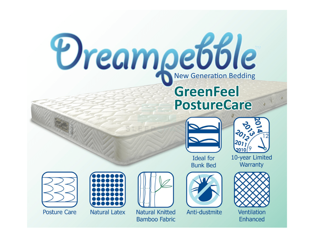 Dreampebble GreenFeel with PostureCare Spring Mattress (6″)-Dreampebble-Sleep Space