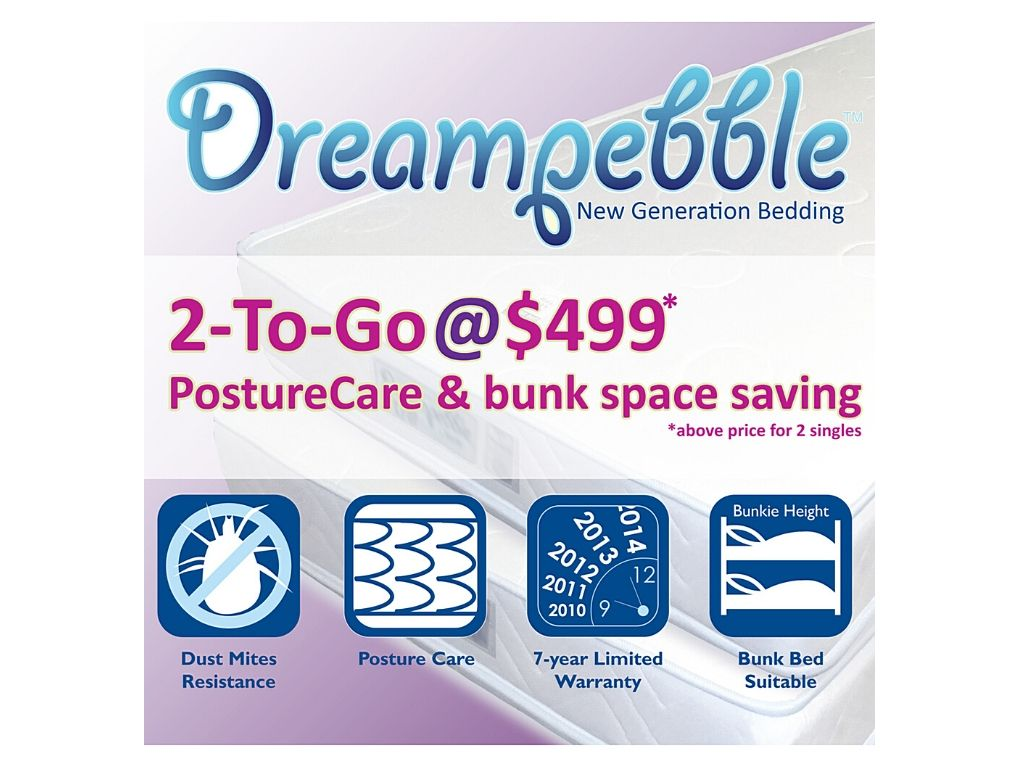 Dreampebble 2-To-Go Posture Care Spring Mattress (6.5″) - Perfect for bunk beds-Dreampebble-Sleep Space