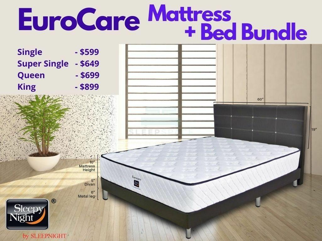Sleepy Night EuroCare Pocket Spring Mattress + Bed Bundle-Sleepy Night-Sleep Space