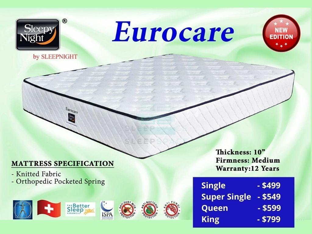 Eurocare Pocketed Spring Mattress-Sleepy Night-Sleep Space