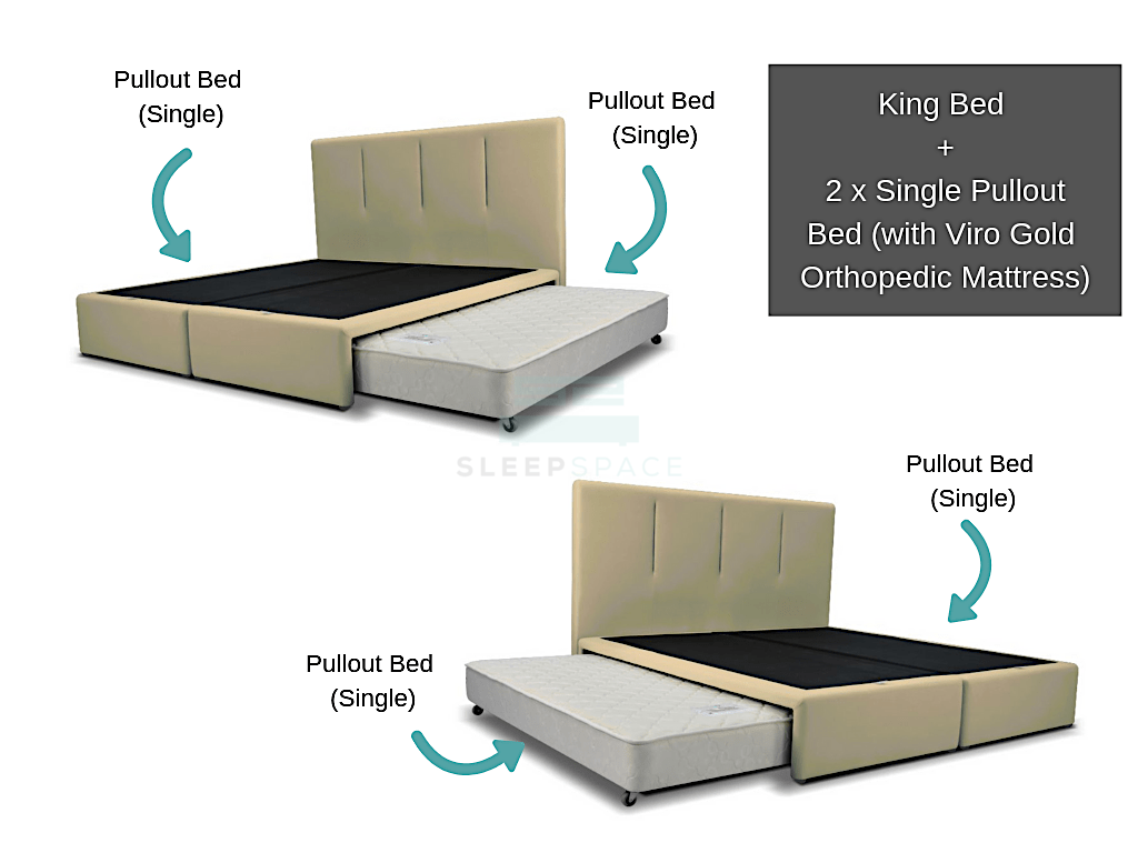 King Size Bed + 2 sets Single Pullout Beds