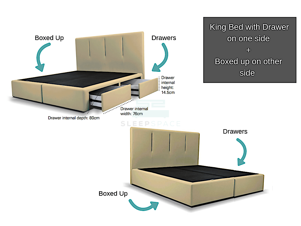 King Viro Bed + Drawers Combo (One Side)-Viro-Sleep Space