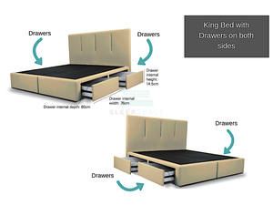 King Viro Bed with Drawers (Both Sides)-Viro-Sleep Space