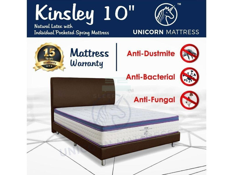 Unicorn Kinsley Natural Latex with Individual Pocketed Spring Mattress (10 inch) with Bed Frame Bundle-Unicorn-Sleep Space