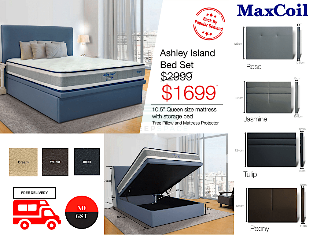 MaxCoil Ashley Island Pocketed Spring Mattress & Storage Bed Bundle