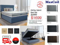MaxCoil Ashley Island Pocketed Spring Mattress & Storage Bed Bundle-Maxcoil-Sleep Space