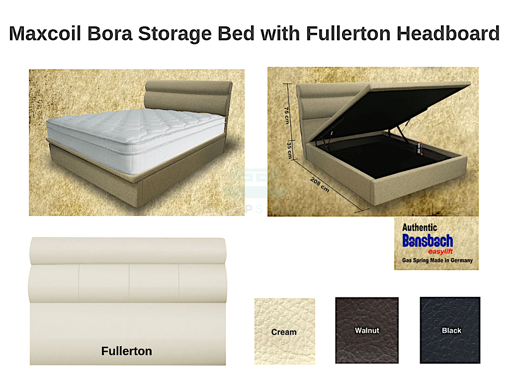 Maxcoil Bora Storage Bed with FULLERTON Headboard-Maxcoil-Sleep Space