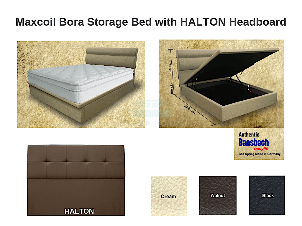 Maxcoil Bora Storage Bed with HALTON Headboard-Maxcoil-Sleep Space