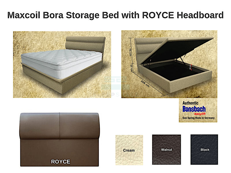 Maxcoil Bora Storage Bed with ROYCE Headboard-Maxcoil-Sleep Space