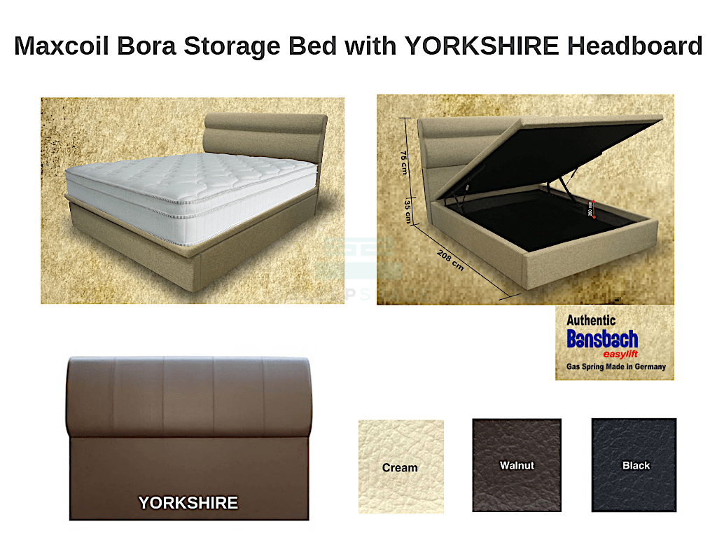 Maxcoil Bora Storage Bed with YORKSHIRE Headboard-Maxcoil-Sleep Space