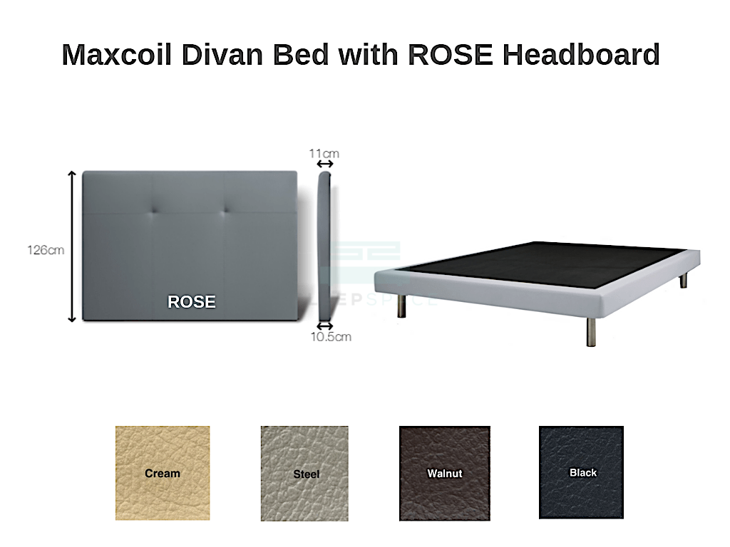 Maxcoil Divan Bed - ROSE Headboard-Maxcoil-Sleep Space