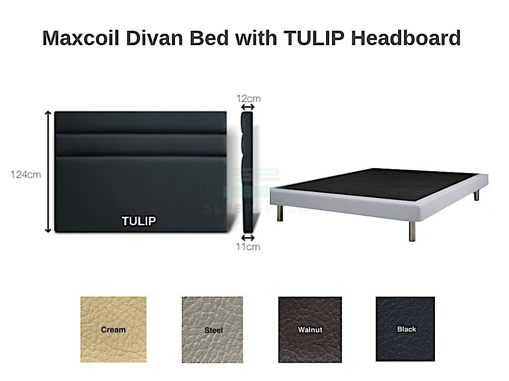 Maxcoil Divan Bed - TULIP Headboard-Maxcoil-Sleep Space