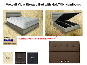 Maxcoil Vista Storage Bed with HALTON Headboard-Maxcoil-Sleep Space