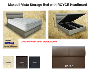 Maxcoil Vista Storage Bed with ROYCE Headboard-Maxcoil-Sleep Space