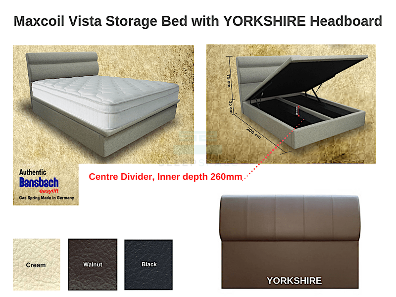 Maxcoil Vista Storage Bed with YORKSHIRE Headboard-Maxcoil-Sleep Space